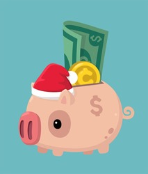 Icon New Year's piggy bank in a Santa Claus hat. Dollar bill Money and coin stick out of the piggy bank.