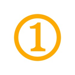 icon number 1 in circle orange isolated on white, flat currency coin one 1 money, first symbol with circle shape, 1st symbol for success or quality, medal one 1 for winner, simple number one button