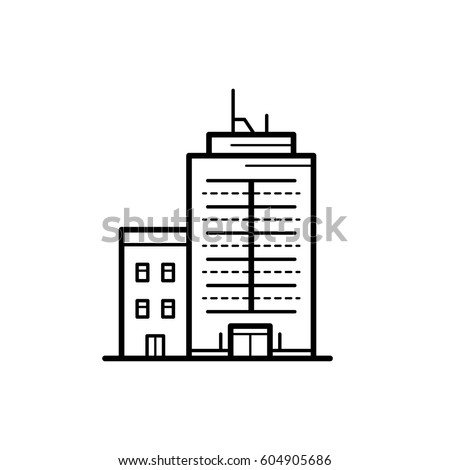 Icon of a building for a real estate agency. A symbol of a modern urban building. City building vector icon