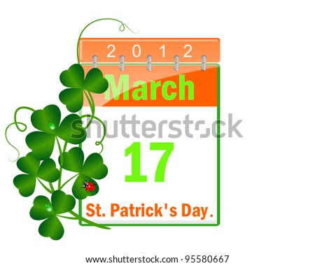 Icon of a calendar of day St Patrick and leaves of a clover with drops of water and a ladybird. Vector illustration.