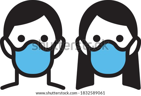 icon of a face of a man and a woman with mouth masks to prevent infectious diseases Stock fotó ©