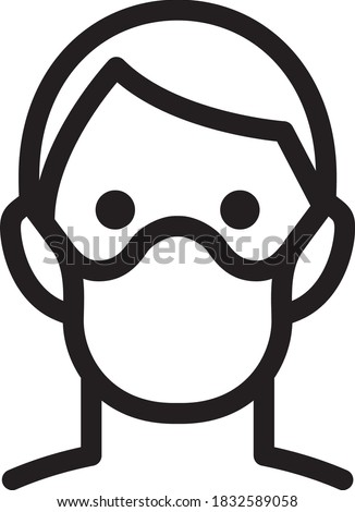 icon of a face with mouth mask to prevent infectious diseases Stock fotó ©