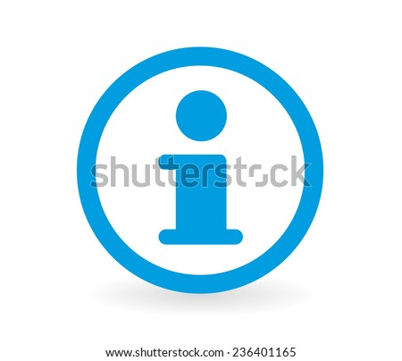 Icon of a information sign in blue and white - Abstract vector image easy to change color.