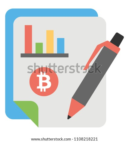 Icon of a pamphlet ledger with pen and bitcoin stamp to store all bitcoin transactions is describing the idea of ledger