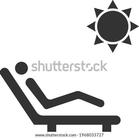 Icon of a resting person on a chaise longue. Vector image isolated on a white background. Flat icon in black style. Signs and symbols for websites, web design, and mobile apps. Photo stock ©