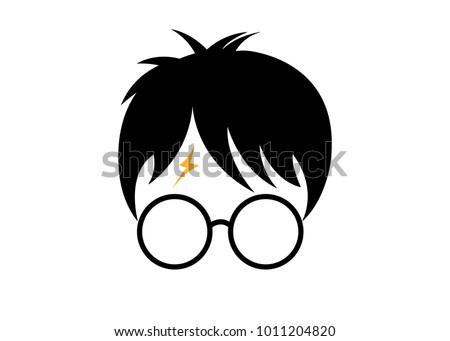 icon of a wizard boy with glasses, minimal Potter style, vector isolated