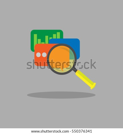 Icon of Analytics Statistic Data With Magnifying Glass Illustration