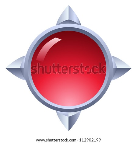 Icon of antique ruby button. Illustration on white - stock vector