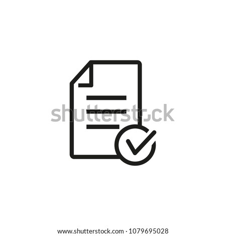 Icon of approved loan. Checklist, file, document. Paperwork concept. Can be used for topics like qualification, business, education