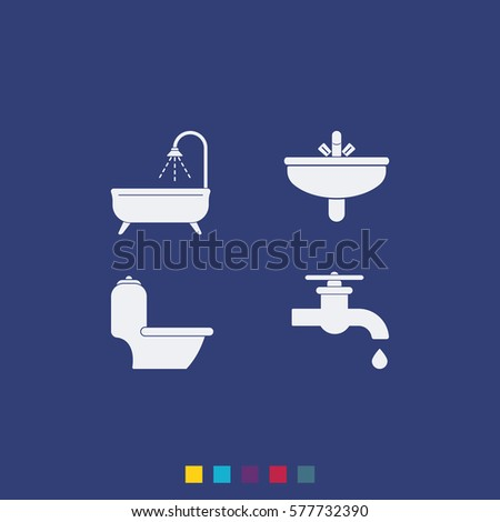 Icon of bathroom equipment vector icon.