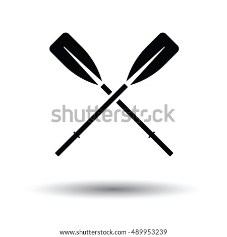 Icon of  boat oars. White background with shadow design. Vector illustration.