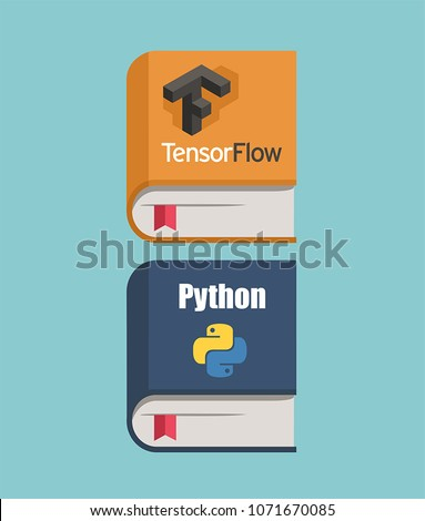Icon of books about programming and neural networks. A book on TensorFlow and the Python programming language.