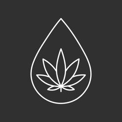Icon of cannabis oil. CBD oil symbol. Line art illustration.