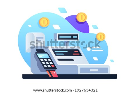 Icon of cash machine for cashier employee in store. Isolated concept modern device using electronic payment by card with check and gold coin. Vector illustration. Foto d'archivio ©