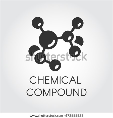 Icon of chemical element compound in flat design. Black logo on a gray background. Abstract molecular connection. Vector illustration