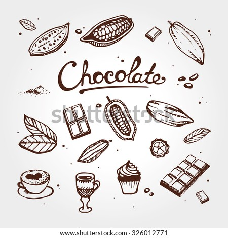 icon of chocolate set  cacao