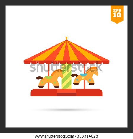 Icon of classic merry-go-round with striped roof and horse figures