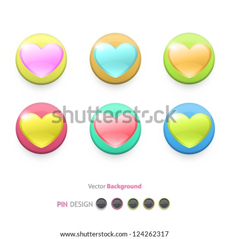 Icon of colorful hearts inside a web button. Vector design.