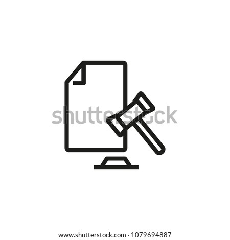 Icon of court decision. Gavel, document, legislation. Law concept. Can be used for topics like judicial proceedings, government institution, authority