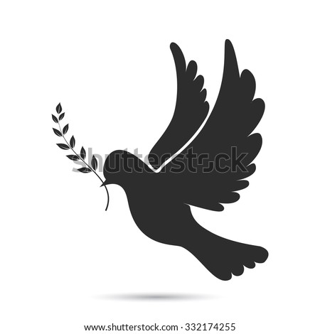 icon of dove flying with olive