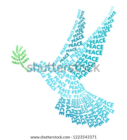 icon of dove of peace  stylized from text