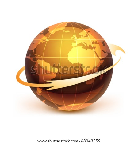Icon of Earth on a white background The base map is from https://zulu.ssc.nasa.gov/mrsid/ - stock vector