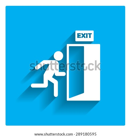 icon of exit sign with man...