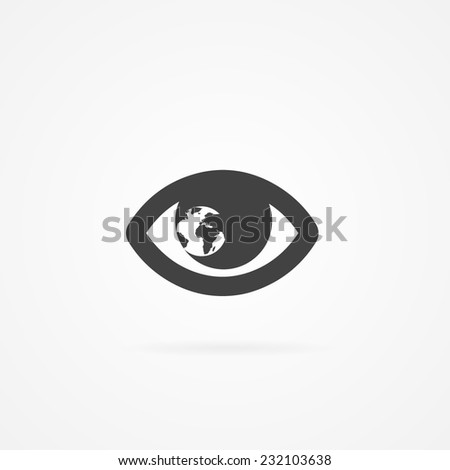 icon of eye with globe inside