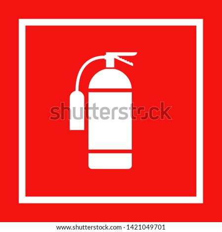 Icon of fire extinguisher isolated. Fire danger. Symbol of fire protection. Sign firefighting on red background. EPS 10 #1421049701