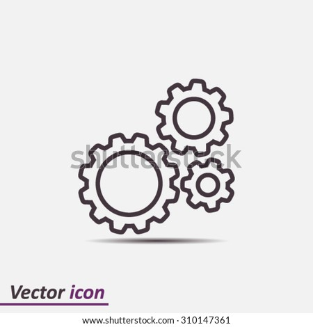 Icon of gears. Flat style.  Foto stock ©