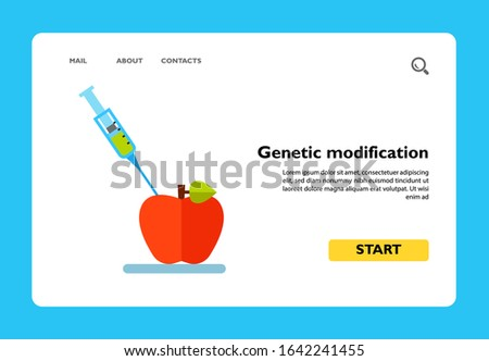 Icon of genetic modification concept. Injection, apple, syringe. GMO concept. Can be used for topics like scientific experiment, biotechnology or food
