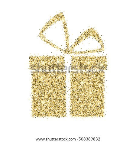 Icon of gift box with gold sparkles and glitter, glow light, bright sequins, sparkle tinsel, shimmer dust. Gift box sign isolated on white background