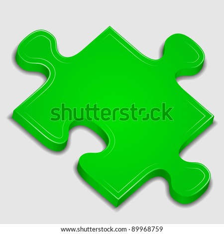 Icon of green puzzle piece, vector