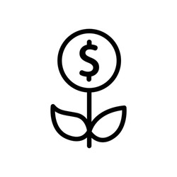 Icon of growing money tree with dollar coin for financial growth. Growing money tree big shining coin with dollar sign Plant in the pot. Financial growth concept. Successful business icon.
