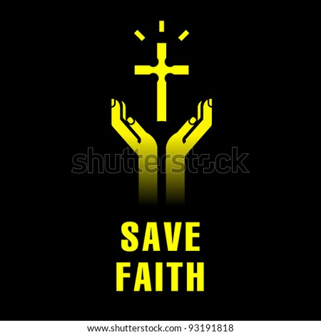 icon of hands with christian cross - stock vector