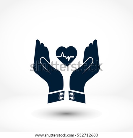icon of heart in hand    vector
