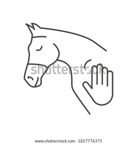 Icon of horse head and human hand touch. Concept for hippotherapy, horse therapy or healing. Physiotherapy for horses. Natural horsemanship. Equine Acupuncture. Vector illustration isolated on white.
