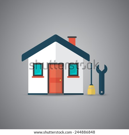 Icon of house with broom and spanner in vector