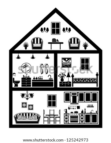 Icon of house with planning. vector