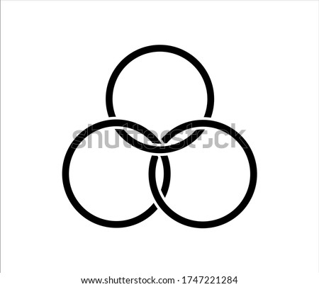 Icon of interlocking circles. Filter, borromean rings, trinity. Unity concept. connection symbols. 3 interlocking rings  vector isolated