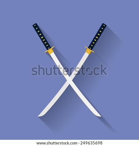 icon of katana swords flat