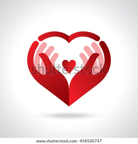 Icon of kindness and charity, Hands and heart.