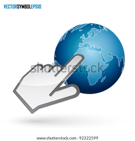 Icon of left-handed cursor on blue earth, with shadow on white background