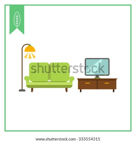 Living Room Sets Including Tv icon of living room interior including couch, tv stand, tv-set and