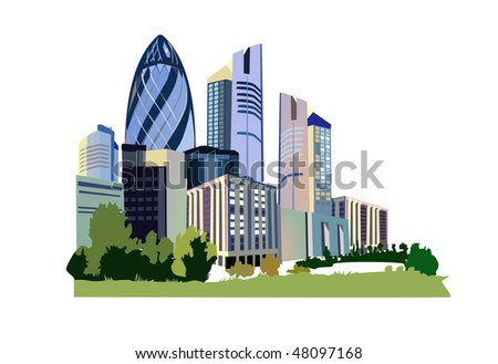 icon of modern city 2 - stock vector