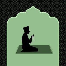icon of muslim man praying with praying beads in mosque