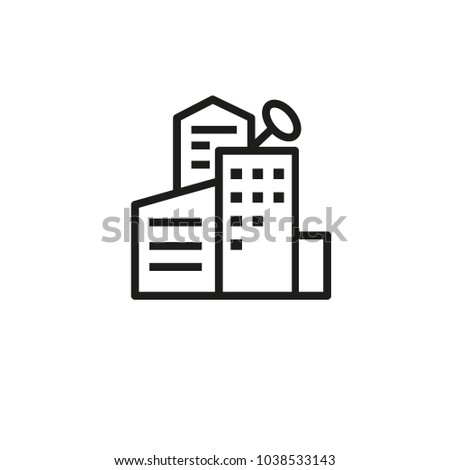 Icon of new housing complex. Residential block, construction, building. Architecture concept. Can be used for topics like residence, structure, engineering