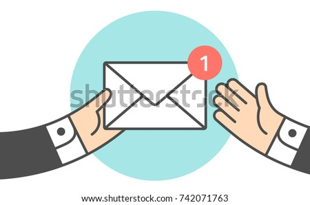 Icon of new mail envelope. Businessman holding envelope in hand, giving envelope second businessman. Mail envelope with red marker for symbol deal, business, message, delivery. Vector Illustration