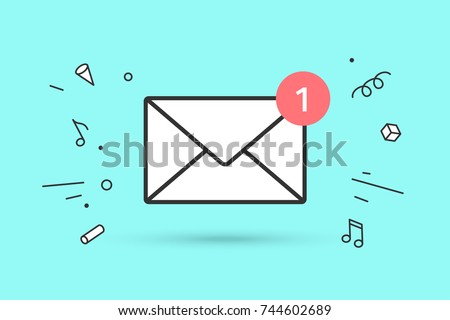 Icon of new mail envelope. White mail envelope with red marker One Message. Sign of mail envelope on blue mint background and explosive graphic element. Icon of mail envelope. Vector Illustration