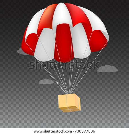 Icon of package flying on red parachute on a background of clouds. Air shipping, delivery service template, 3D illustration. Isolated on transparent backdrop